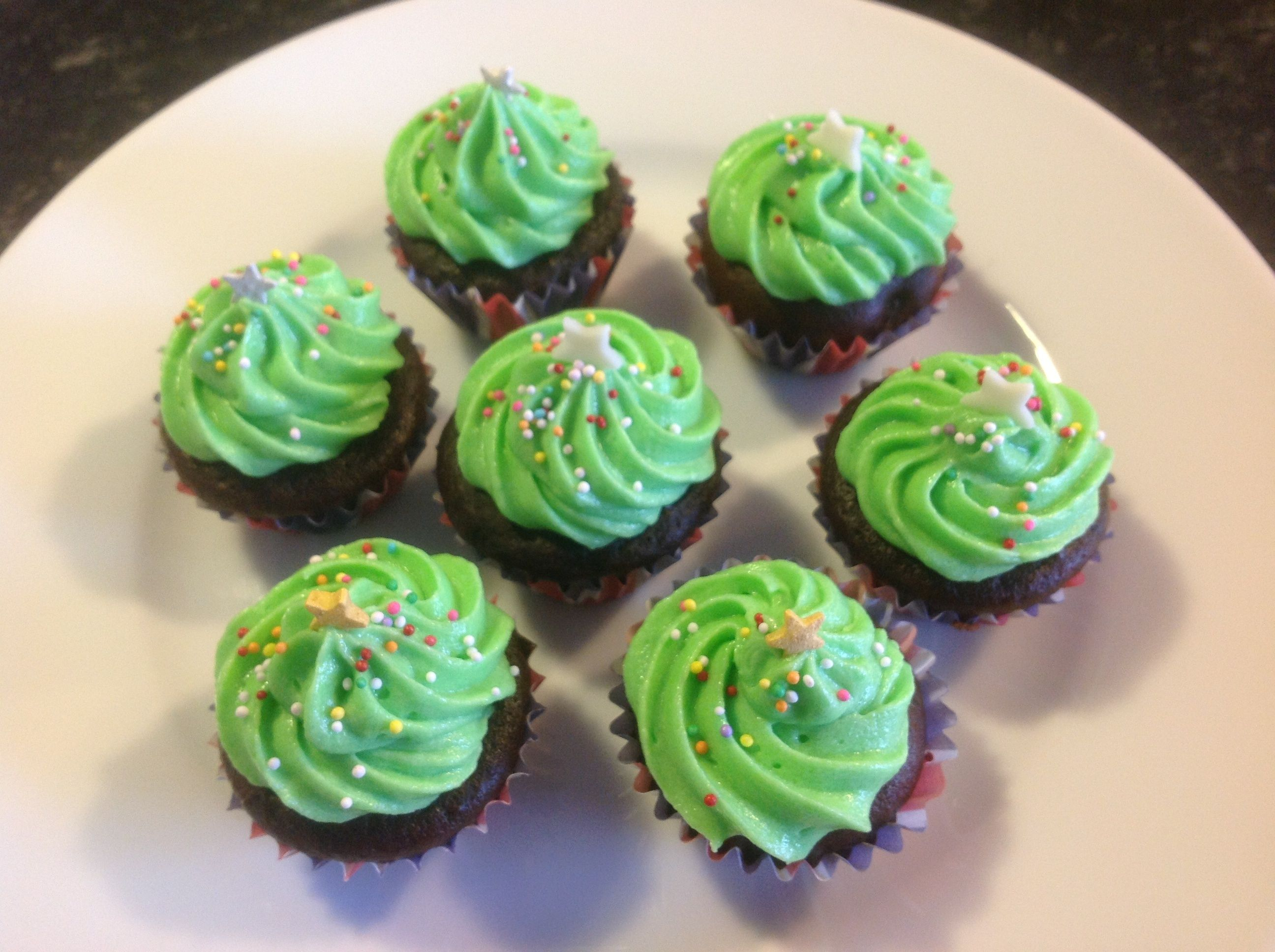 Mini muffins made into Christmas trees