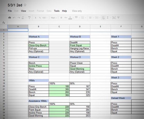 531 Second Edition Spreadsheet | Exercise | No equipment workout, At