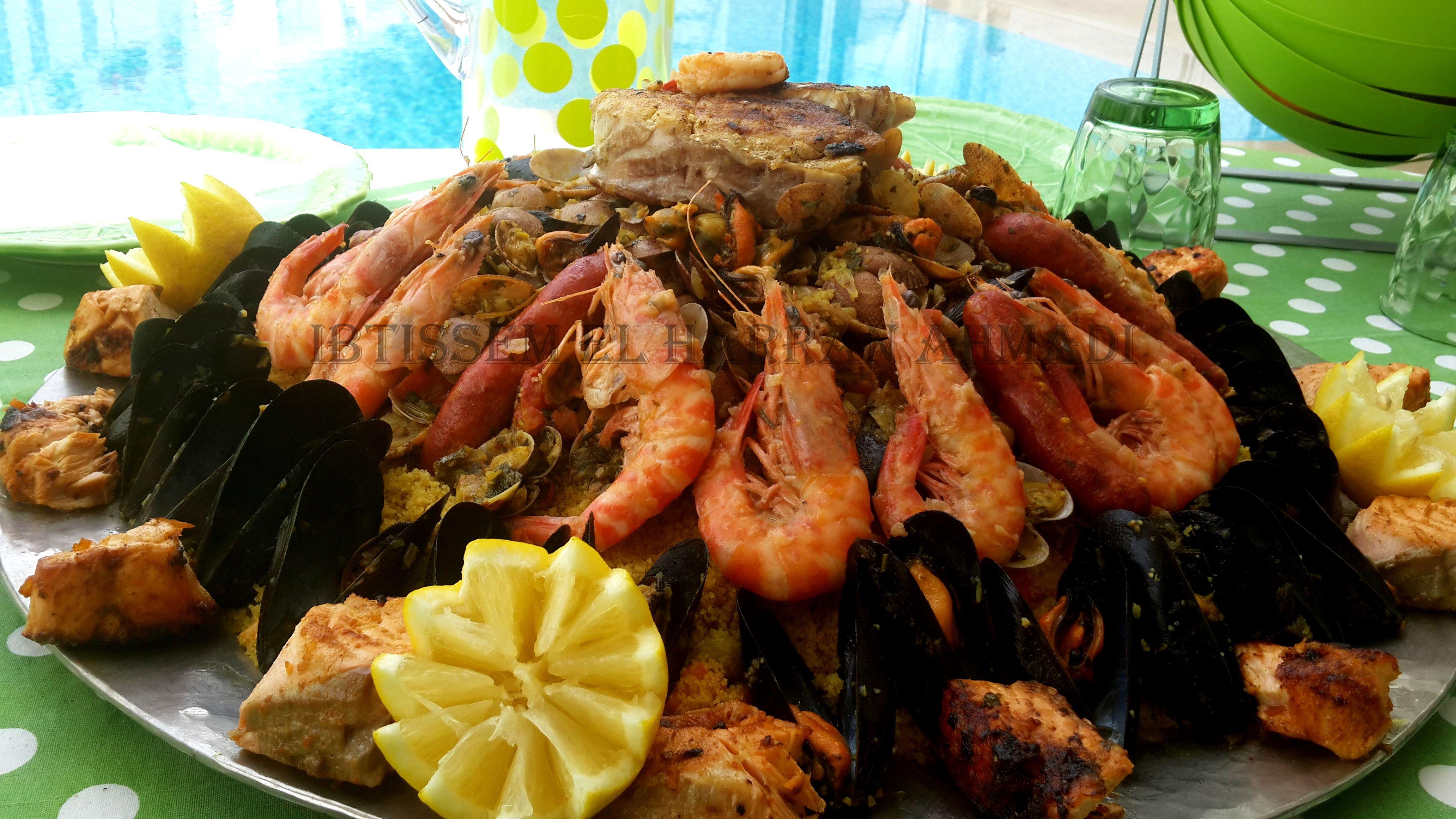 Couscous aux fruits de mer crevette poulet moule clovisse - Cuisine tunisienne poisson ...