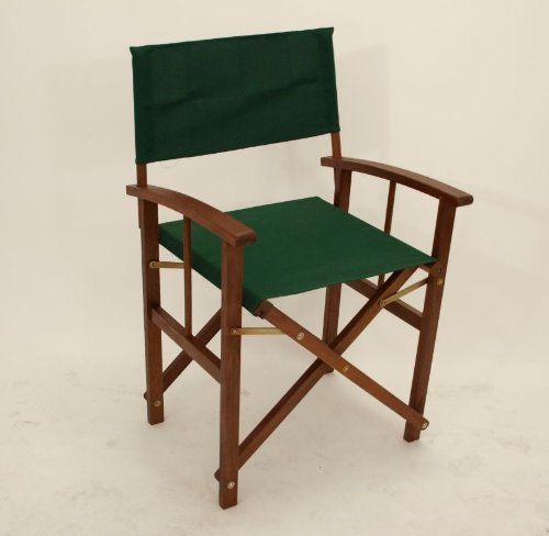 2x Regiesessel Regiestuhl Springfield, Eukalyptus + Stoff dunkelgrün, FSC®-zertifiziert gartenmoebel-einkauf