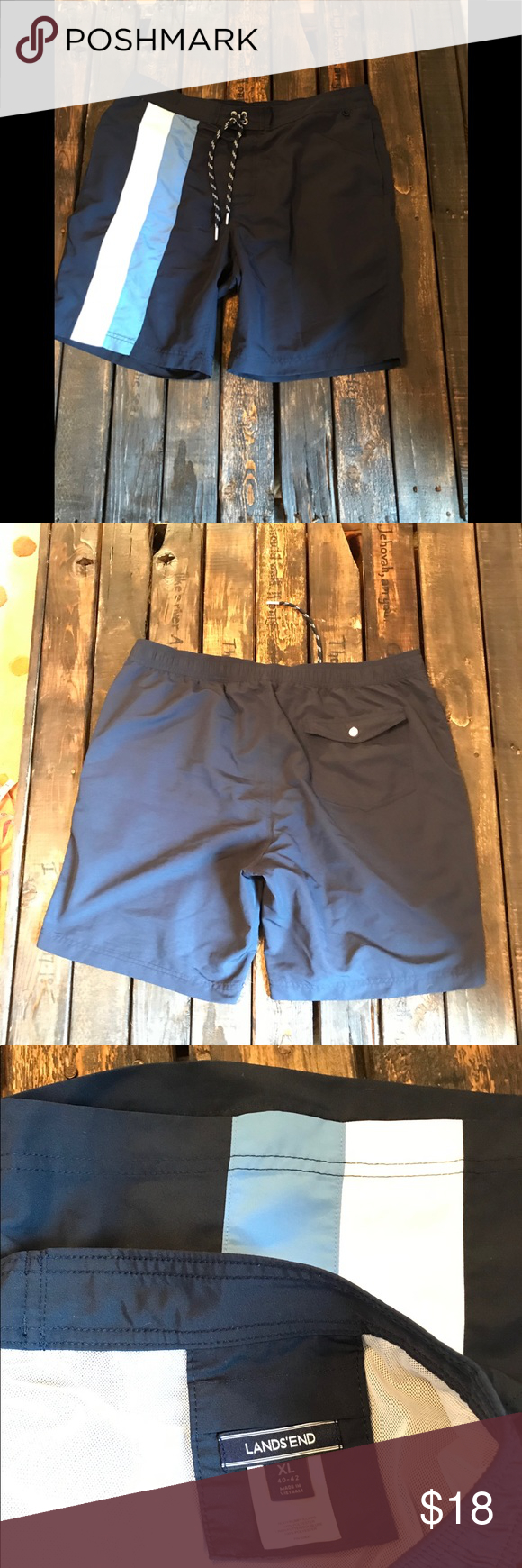 45edeb642b LandsEnd Swim trunks LandsEnd Men's blue swim trunks, brand new condition  Size XL 40-42 Lands' End Swim Swim Trunks