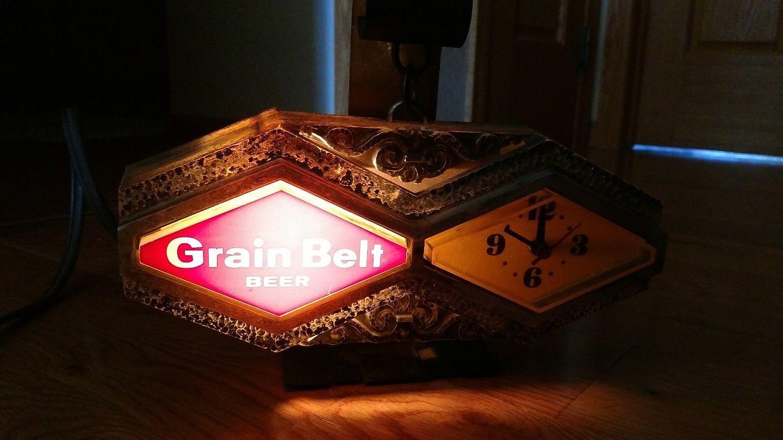 Vintage Grain Belt Lighted Cash Register Beer Sign Clock | Beer ...