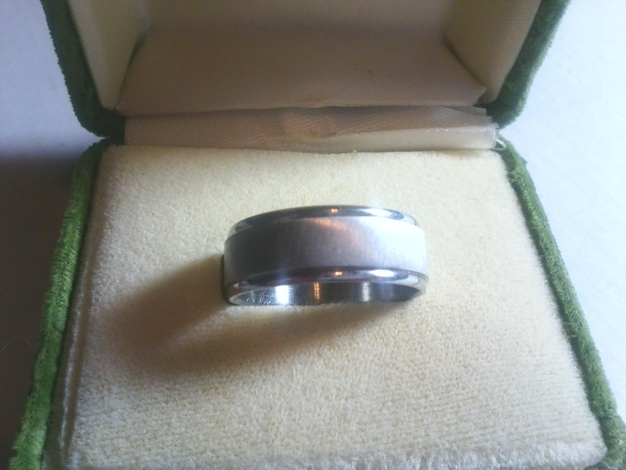 Stainless Steel with Brushed Design Comfort Fit Mens