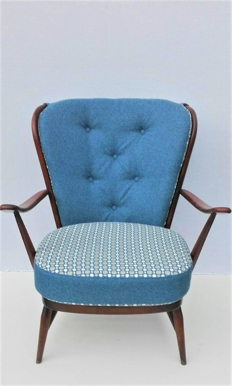 For Sale Iconic Ercol Chair 477 Newly Upholstered And New Webbing Upholstered By Flamingo Upholstery E Ercol Chair Vintage Furniture For Sale Upholstery