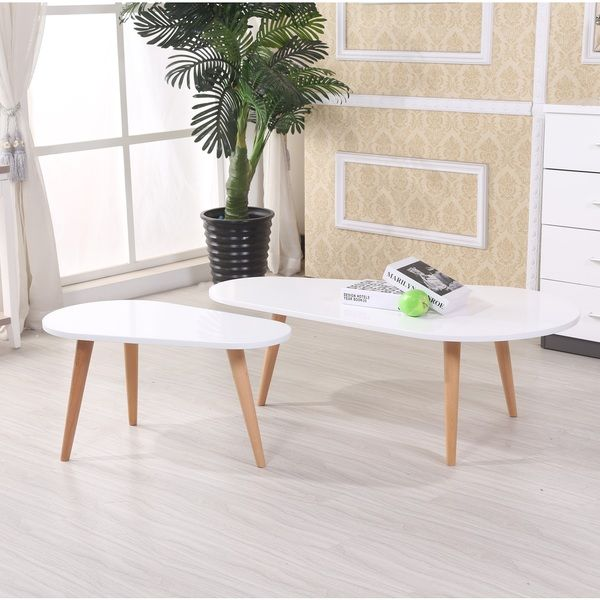 Amelia Modern Free Form Wood 2 Piece Mid Century Style Coffee Table Set