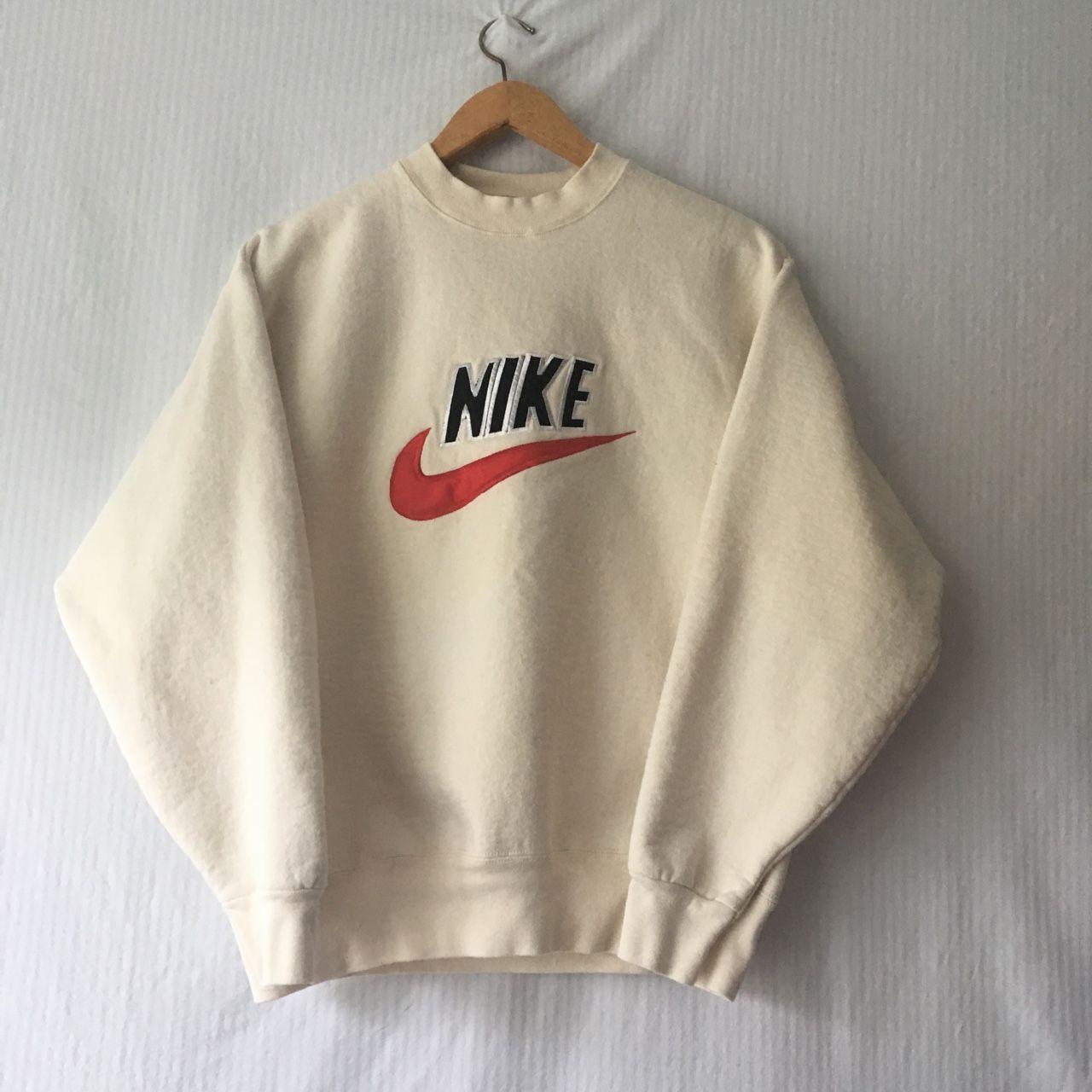 Vintage 90s Nike Crewneck Nice Cream Color With The Depop Vintage Nike Sweatshirt Vintage Hoodies Nike Crewneck Sweatshirt [ 1280 x 1280 Pixel ]