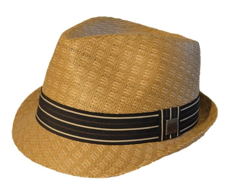 Mens Big Size Summer Straw Fedora Trilby Thick XL(60)- XXL(62) Brown -  C611WAFBBD9 - Hats   Caps 53971e166fb