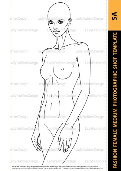 Fashion Female Drawing Template - Female Upper Body for Fashion - fashion designer templates