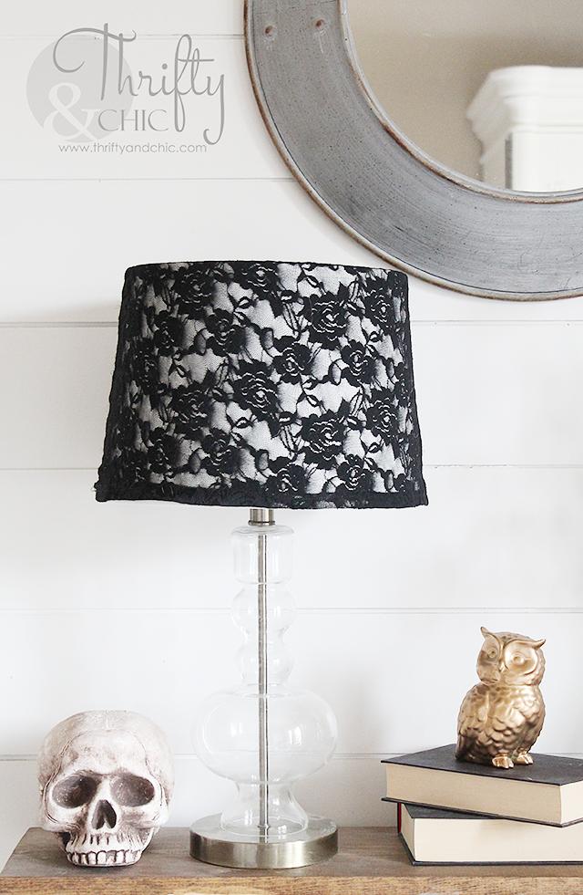 Black lace halloween lamp shade diy ideas decoration and creative black lace halloween lamp shade aloadofball Images