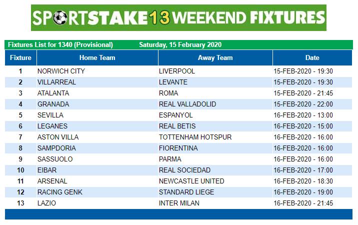 Sportstake 13 Weekend Fixtures 15 January 2020 Https Www Playcasino Co Za Sportstake Weekend Fixtures Html In 2020 Weekend Online Lottery Fixture List