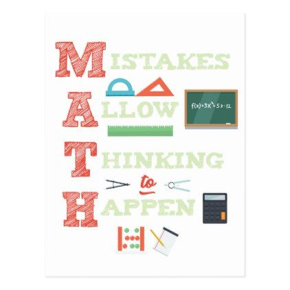 Mistakes Allow Thinking To Happen Math Teacher Postcard Birthday