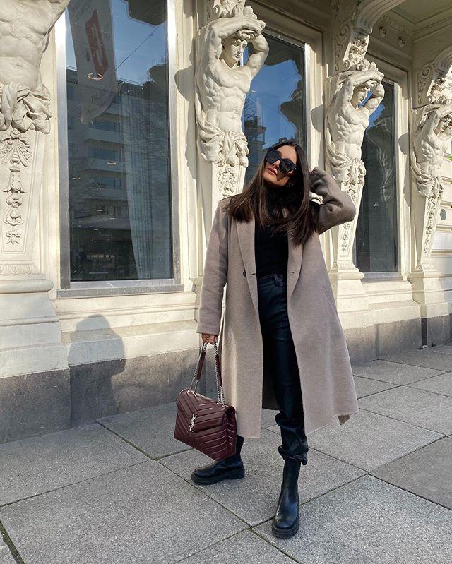 Winter Style | Dark brown teddy coat, black denim, YSL bag