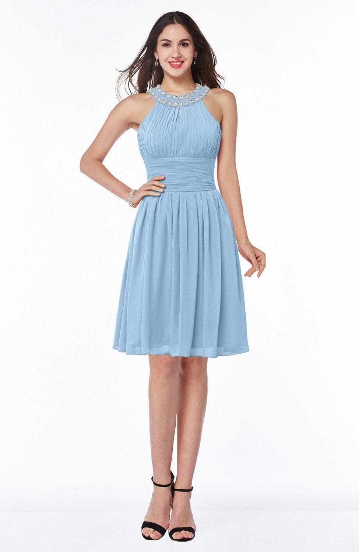 Sky blue bridesmaid dress glamorous sleeveless zipper knee length
