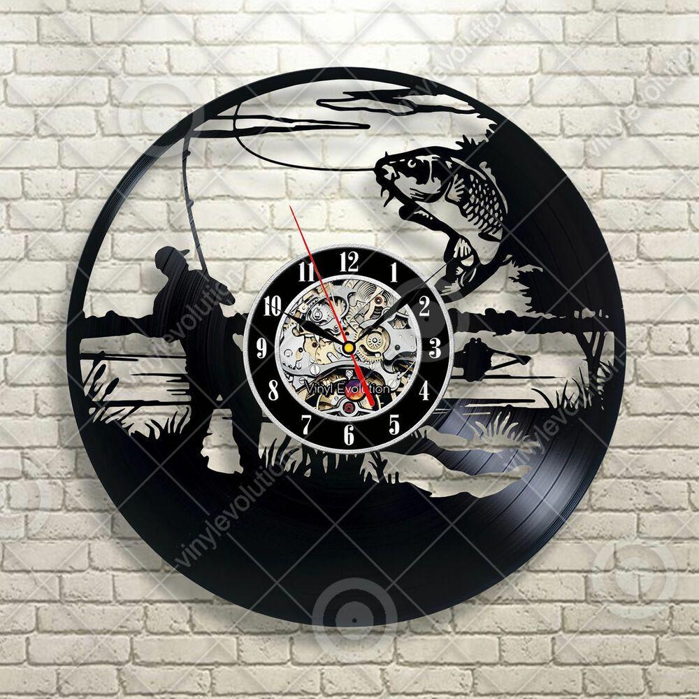 Fishing Tin Sign Distressed Retro Vintage Cabin Wall Clock Vinyl Art Decor Ideias Para Relógio Arte Em Vinil Clock Vintage