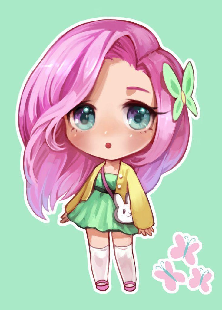 #1158272 - artist:pinkiepiee, chibi, cute, daaaaaaaaaaaw, fluttershy, humanized, pixiv, safe, solo - Derpibooru - My Little Pony: Friendship is Magic Imageboard