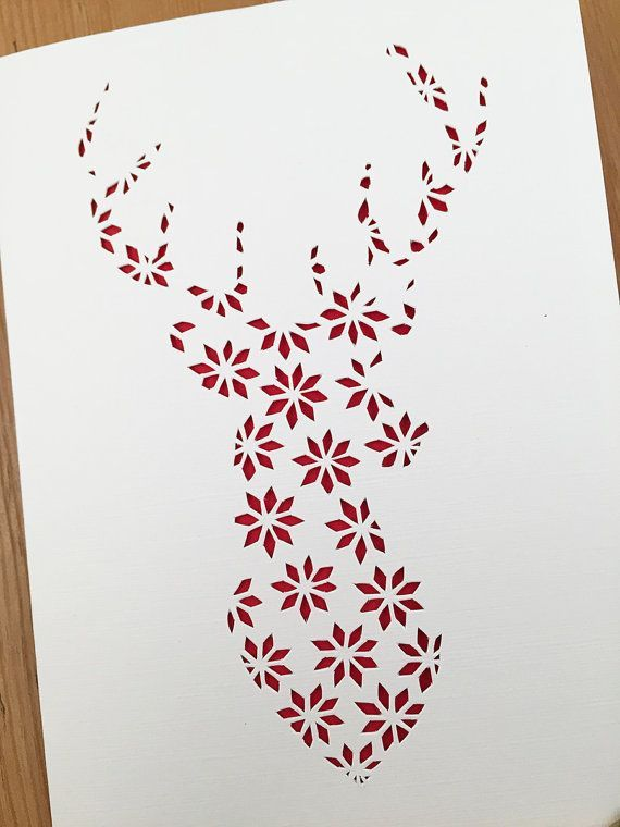Christmas Papercut Template Reindeer Stag pattern Holiday fairisle ...