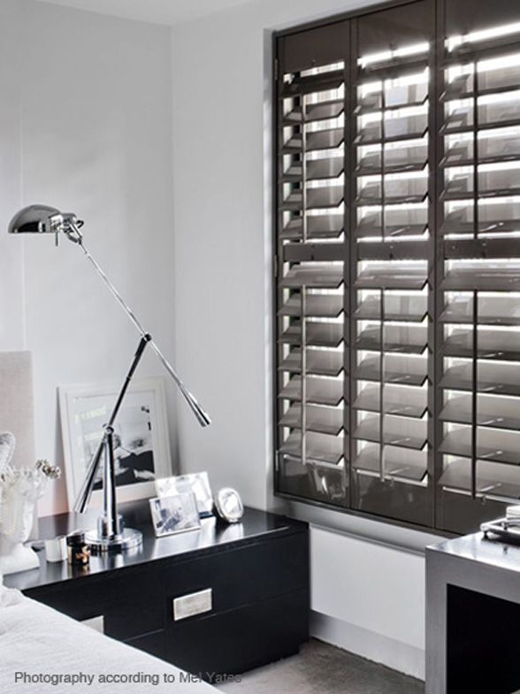 Kelly hoppen interior designer launches plantation shutters collaboration a page dedicated to for Black window shutters interior