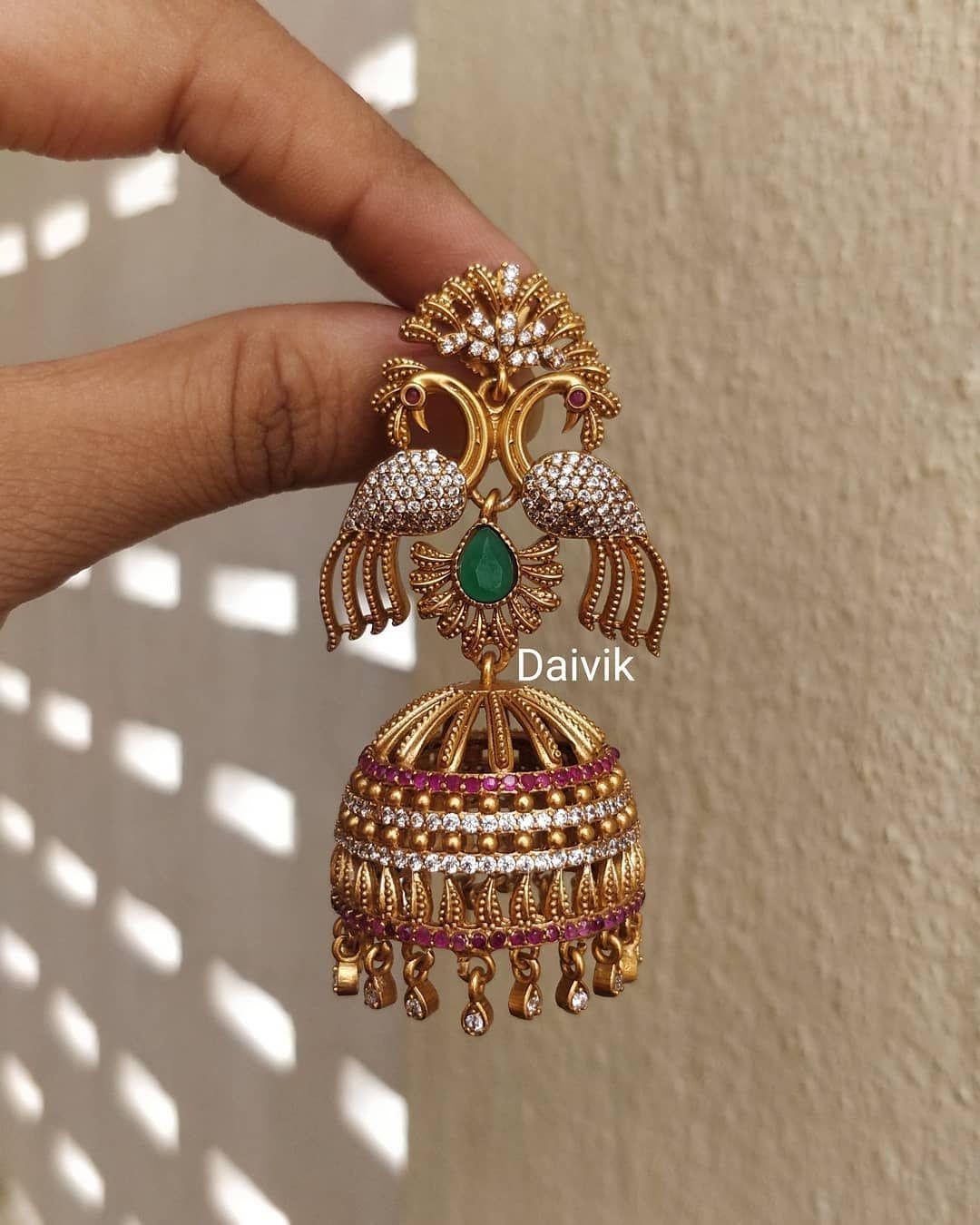 Blue Plan Beads Brass Metal 22 Grams Jhumka//Earring 3 Handmade Indian Jewelry Gift Jewelry