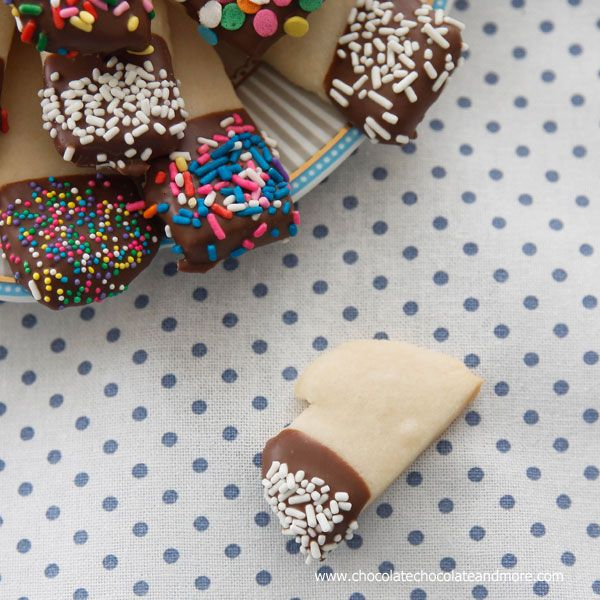 Chocolate Dipped Shortbread Cookies-a simple buttery cookie, dipped in chocolate and sprinkles