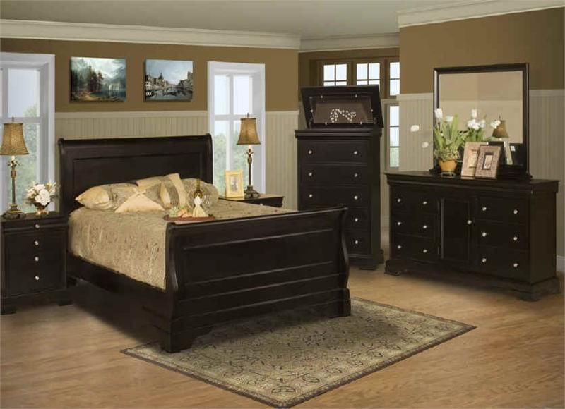 Belle Rose Black Cherry Full Size 4 Piece Bedroom Set By New