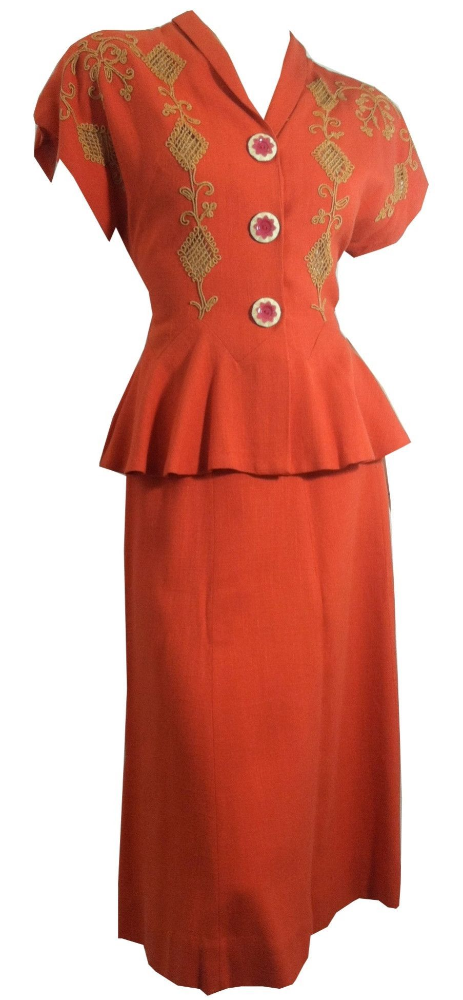 Perky Summer Coral 2 Piece Dress w/ Embroidery and Flower Buttons circa 1940s