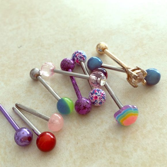 Lot 2 Purple Splatter Tongue Rings Includes Only The Two Purple Splatter Looking Tongue Rings Hot Topic Jewelry In 2019 Tongue Rings Purple Rings