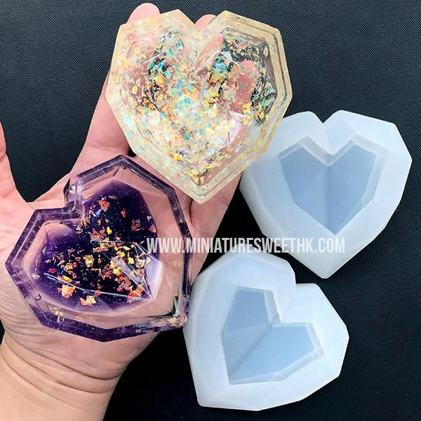 Photo of Faceted Heart Trinket Box Silicone Mold | Heart Dish Mold | Heart Tray Mold | Kawaii Epoxy Resin Art Supplies | UV Resin Craft (74mm x 75mm)