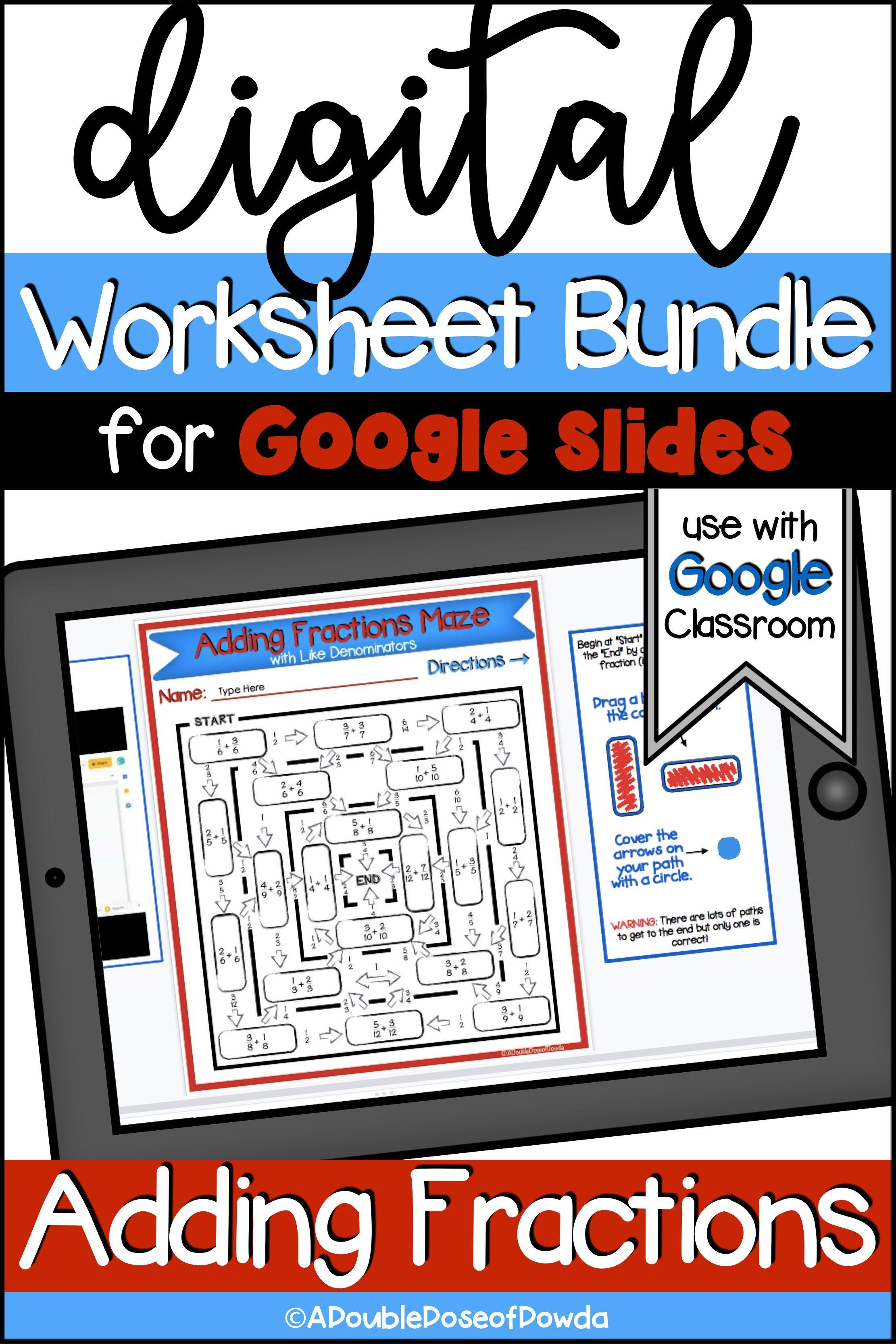 Adding Fractions Digital Worksheet Bundle For