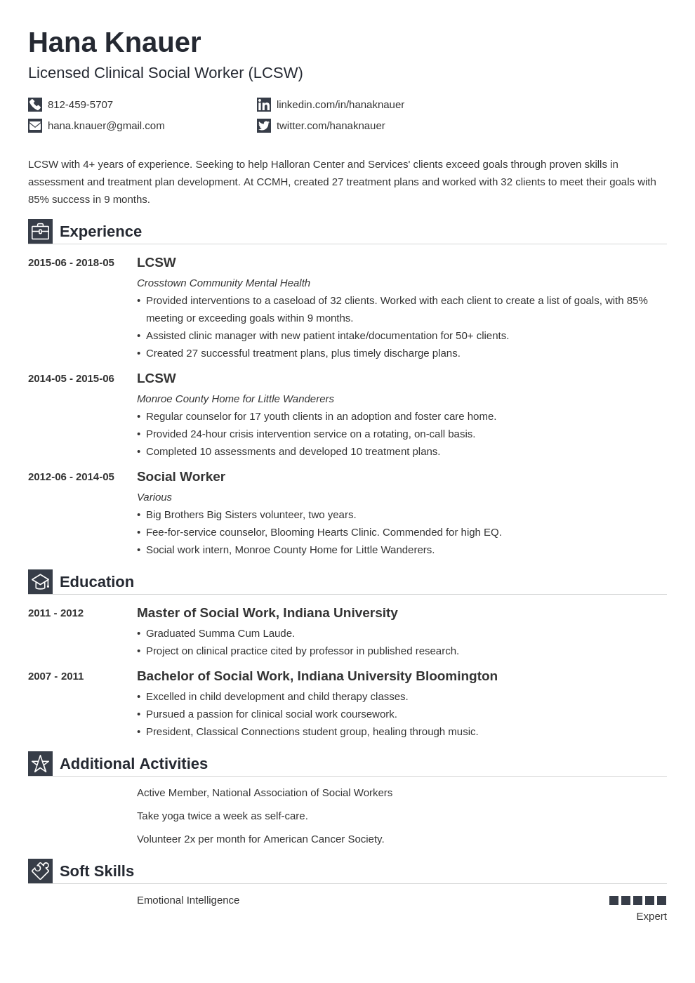 social work resume example template iconic in 2020