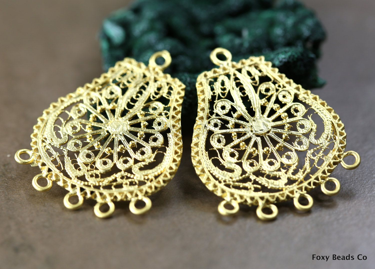 Indian style filigree chandelier earring component large 2 pieces indian style filigree chandelier earring component large 2 pieces pendant 24k gold plated earring components arubaitofo Image collections