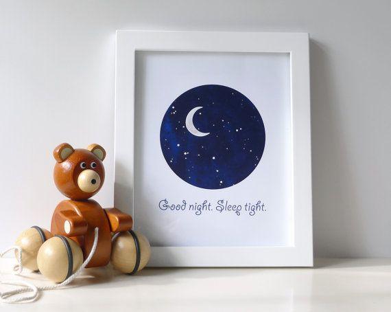 Celestial Baby Nursery Wall Art Print Boy Stars Moon Decor Good Night Sleep Navy Blue 8x10 Digital On Etsy 16 00