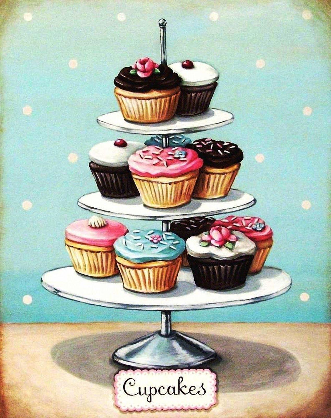 cupcakes | Decoupage Kitchen | Pinterest | Decoupage, Illustrations ...