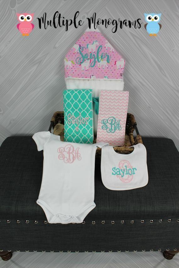 Baby gift basket- Custom for boy or girl monogrammed hooded towel, burp cloths, ...  #baby #basket #Boy #burp #cloths #Custom #gift #Girl #hooded #monogrammed #Towel