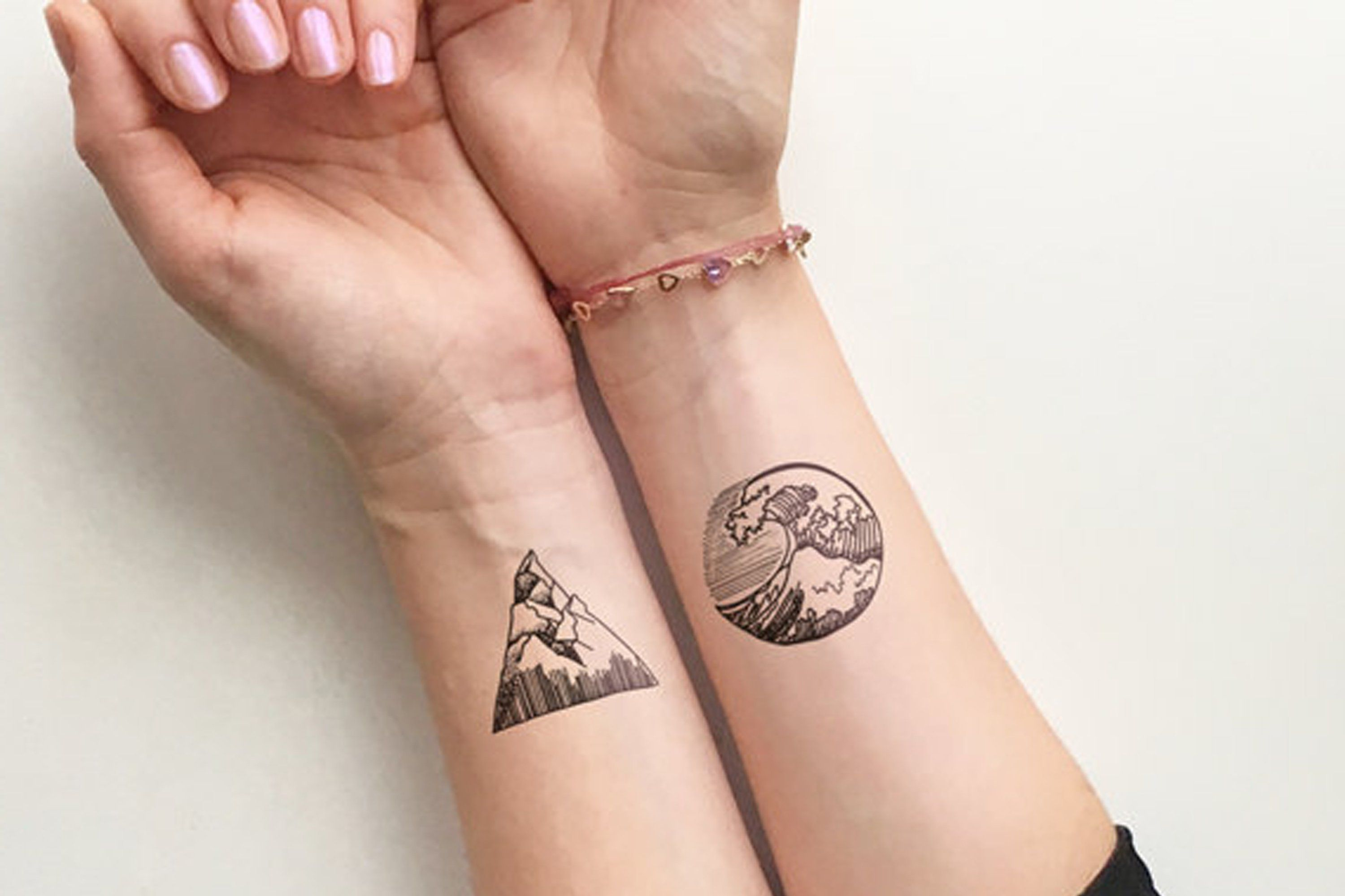 6a0005a18 Solstice Small Geometric Nature Waves & Mountain Temporary Tattoo ...