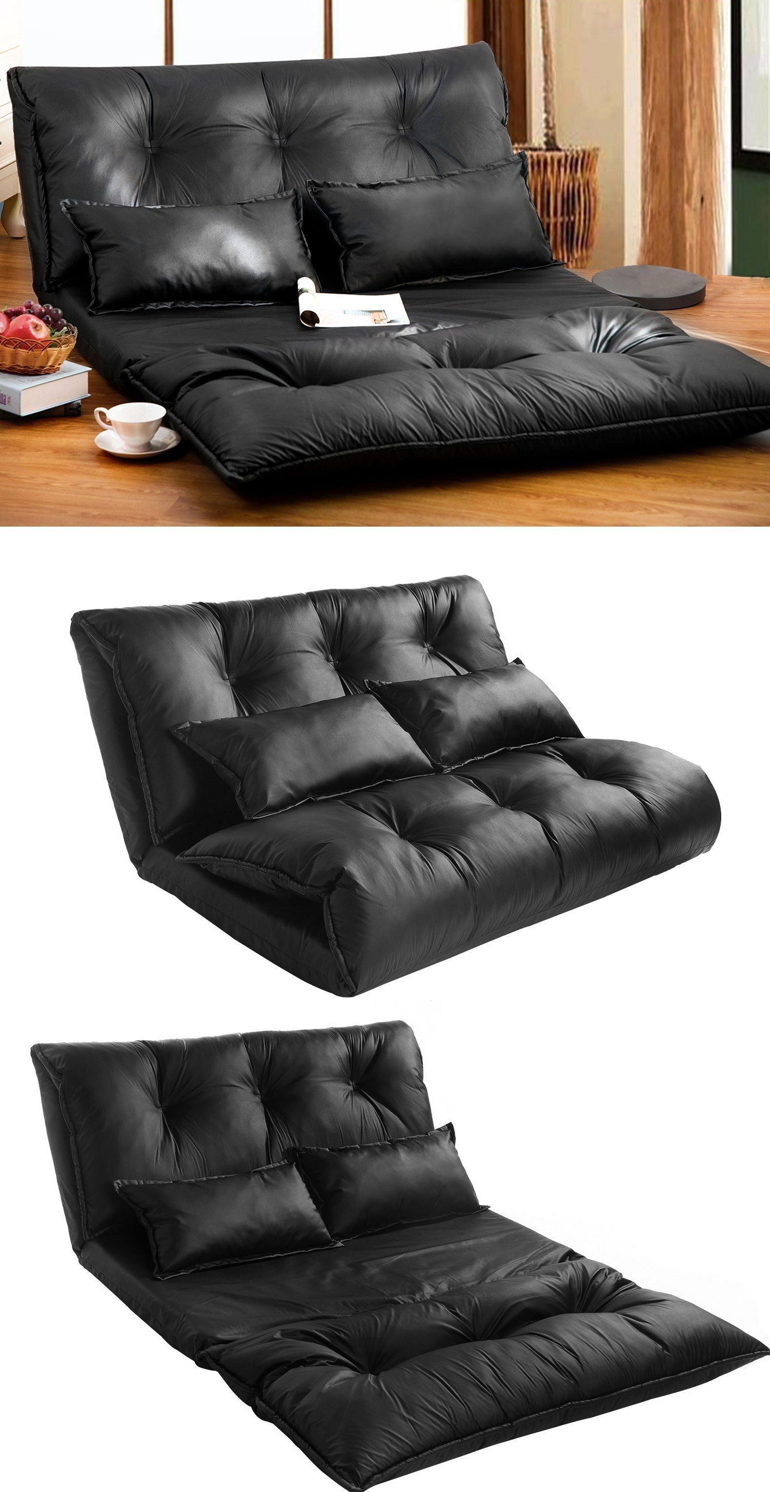 Pu Leather Foldable Modern Leisure Sofa Bed Video Gaming Sofa with Two Pillows