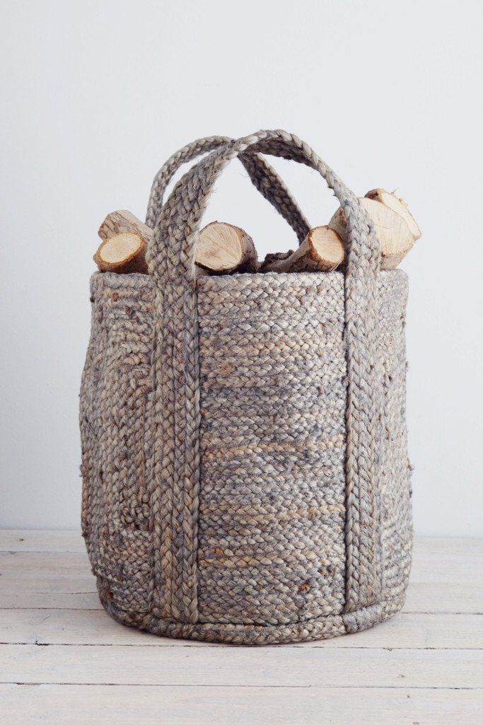 Small Log Basket Blue Grey Hemp Decorator S Notebook Www Decoratorsnotebook Co Uk
