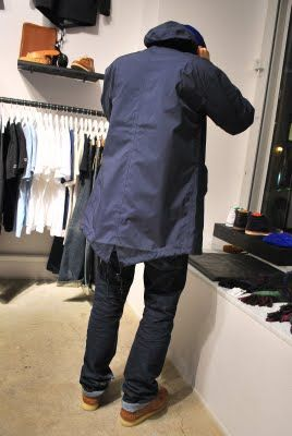 Men's Navy Fishtail Parka, Navy Jeans, Brown Desert Boots ...