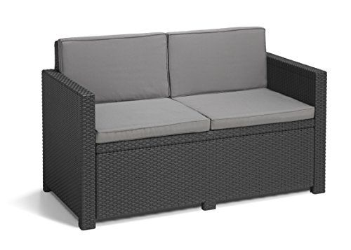 Allibert by Keter Monaco Outdoor 2 Seater Garden Sofa with Cool Grey ...