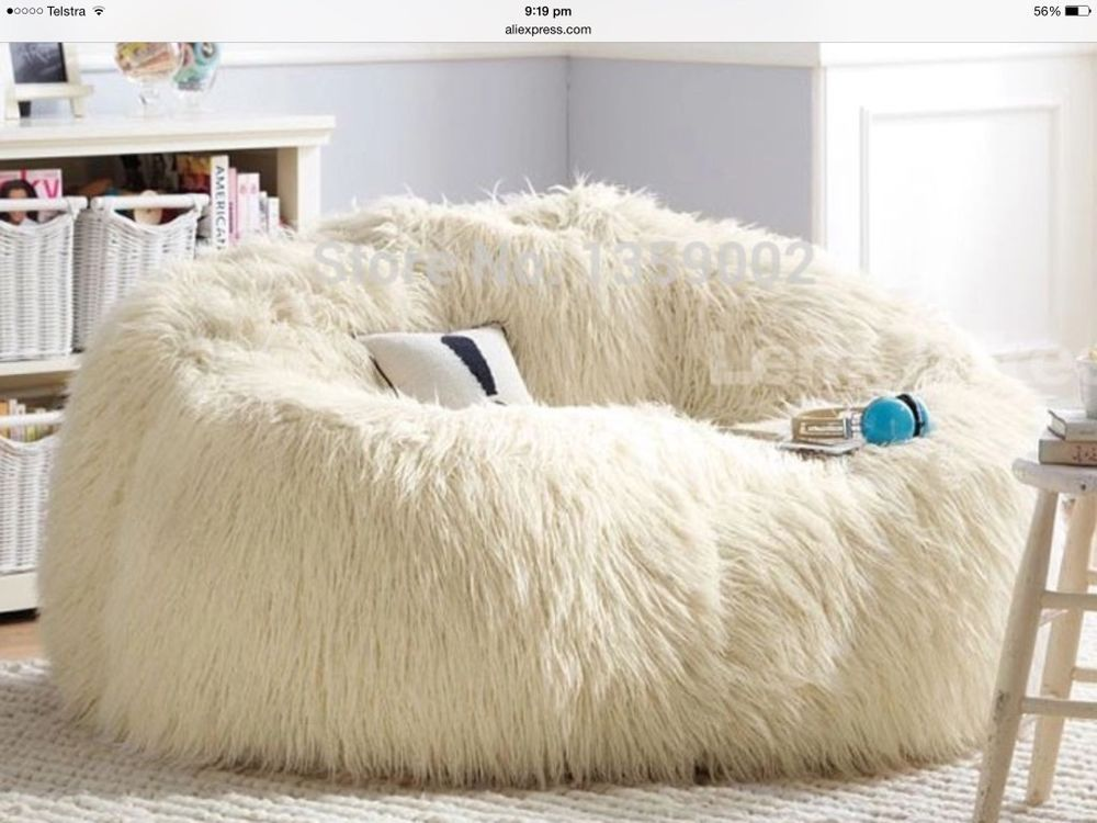 Gorgeous Faux Fur Big Sofa Bed Adult Bean Bag Chair Lounger Without Filler White