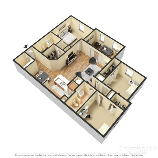 Buckingham Layout   3 Bedroom At Victoria Place Apartments, Orlando Fl
