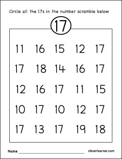 Number 17 writing, counting and identification printable