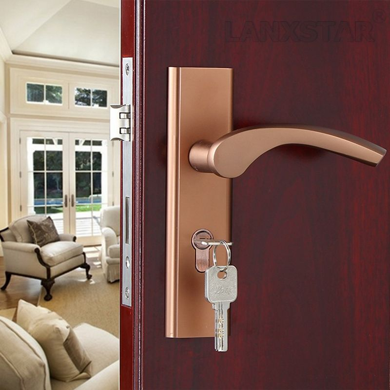 Manufacturers Selling Coffee Color Space Aluminum Interior Door Handle Lock Quality Assurance Mute Lockcore Room Door Lo Door Handles Doors Interior Room Doors
