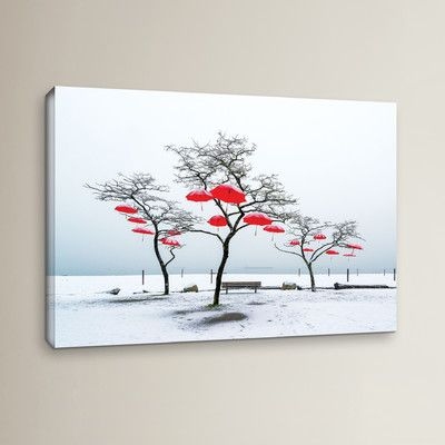 """Red Barrel Studio Red Umbrellas Photographic Print on Wrapped Canvas Size: 16"""" H x 24"""" W x 2"""" D"""