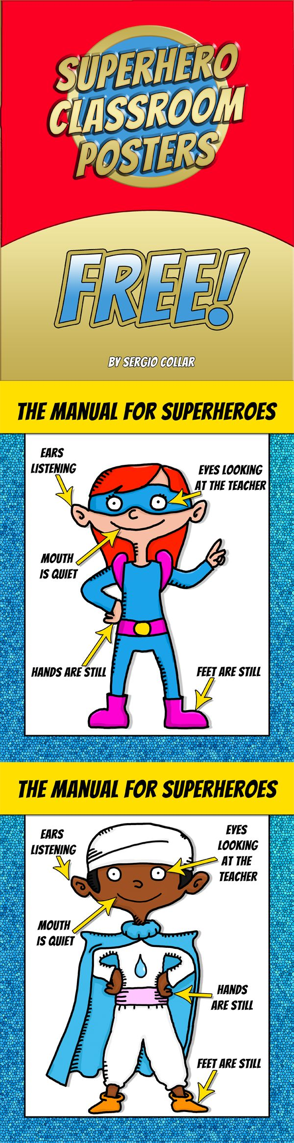 SUPERHERO CLASSROOM POSTERS – FREE   2 Cool Behaviour Rules Posters for your classroom!  If you like these posters you may like: SUPERHERO CLASSROO...