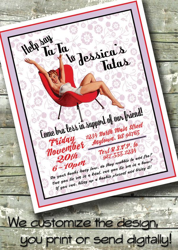 Pin-Up Girl BACHELORETTE PARTY ~ Breast Cancer Party ~ Hen Night ...
