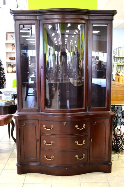 Mahogany Bowed Front China Cabinet Beautiful Painted