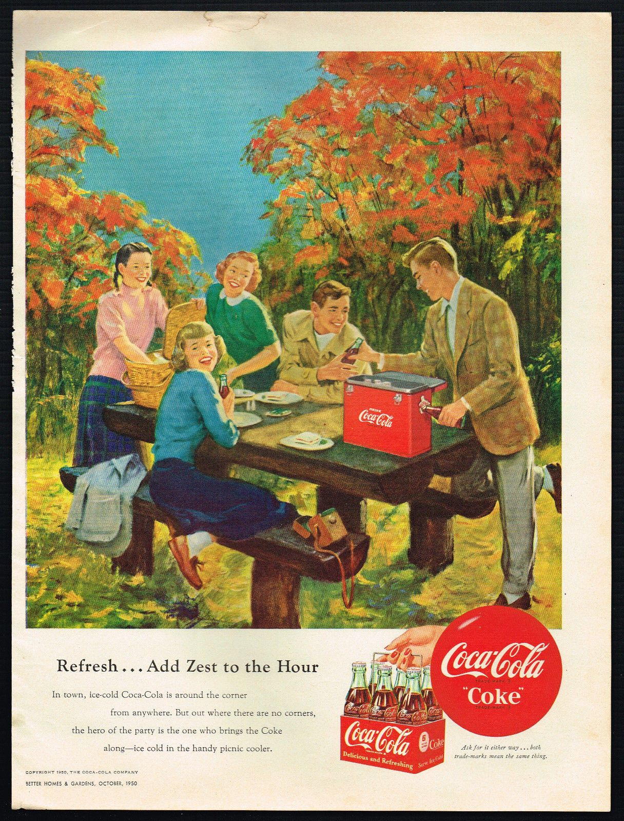 1950S Old Vintage Original Coca Cola Fall Autumn Picnic Kids Art