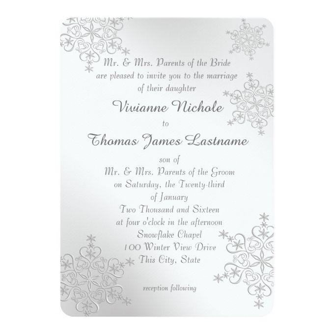 Winter Wedding Invitations Cheap: Silver Snowflakes Wedding Invitation