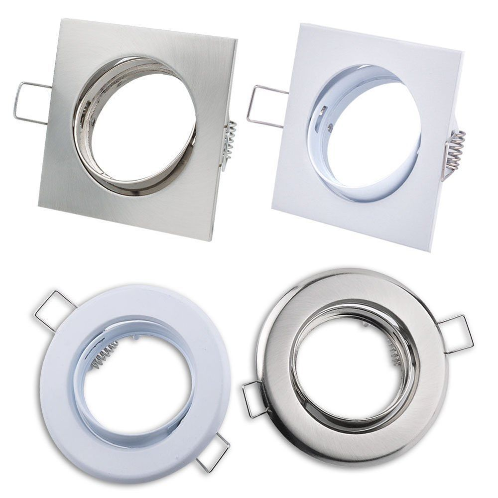 4 Type Silver HalogenLED GU10 MR16 Downlight Fitting Fixture Ceiling ... for Lamp Holder Flush Type  242xkb