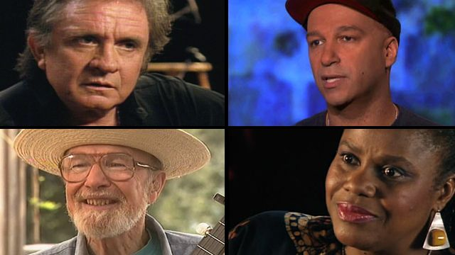 Watch Johnny Cash, Pete Seeger, Bernice Johnson Reagon and Tom Morello talk with Bill about the unifying power of music.